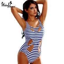 New Stripde one piece swimwear high cut one piece swimsuit bandage cut out swimwear triangle bathing suit sexy monokini S1616