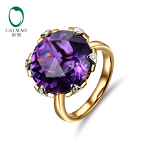 New Free shipping 9.02ct 15mm Round Purple Amethyst 14k Gold Natural Diamond Engagement Ring