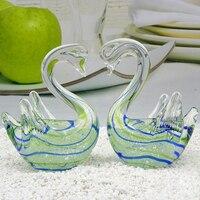Swan Wedding Gift Glass Animal Mini Statuettes Handblown Home Decor Multicolor Modern Figurine Home Decoration Accessories