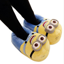 Whoholl Winter Home Slipper Man Despicable Me Minions Indoor Slippers Plush Stuffed Funny Flock Cosplay House Shoes