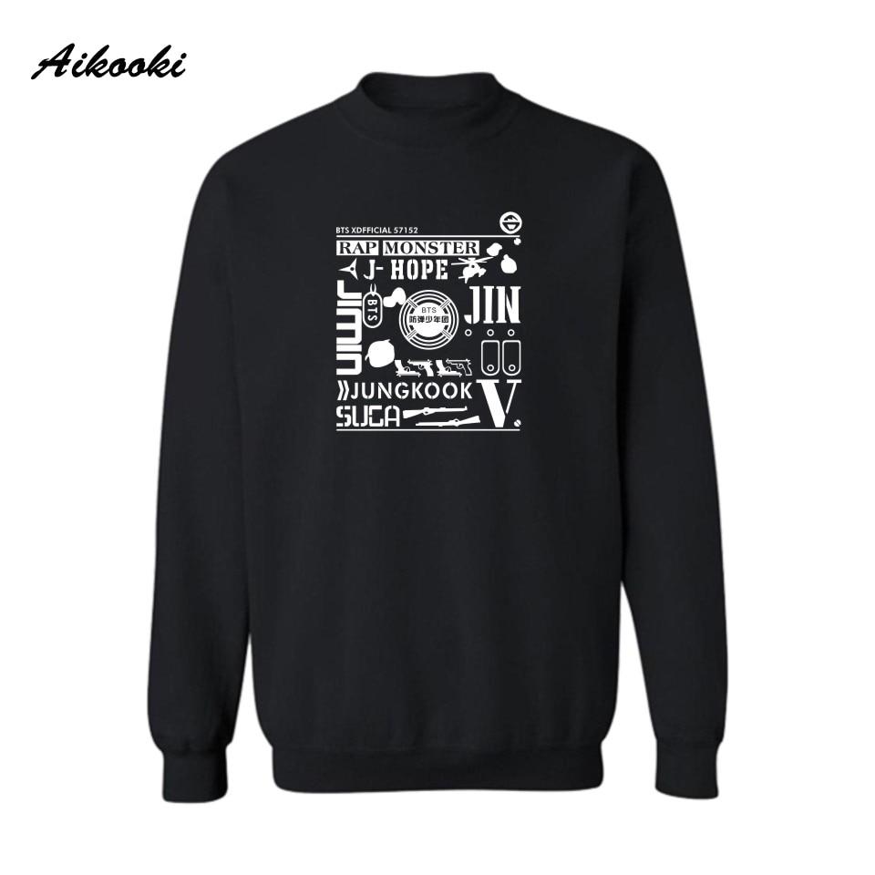 Aikooki New BTS Bullet-Proof Youth Women Sweatshirt Hoodies Men Fashion Capless Sweatshirt Women Kpop Hip Hop Streetwear Clothes
