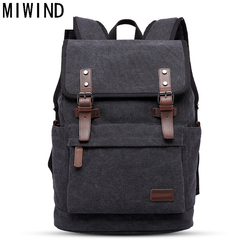 MIWIND Famous Brand Casual Men Travel Laptop Backpack Vintage Canvas Men's Backpacks Student School Bag TLY1084 men backpack student school bag for teenager boys large capacity trip backpacks laptop backpack for 15 inches mochila masculina