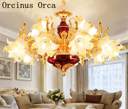 European Luxury Color Crystal Chandelier Living Room Dining Room Bedroom French Creative LED Alloy Ceramic Chandelier