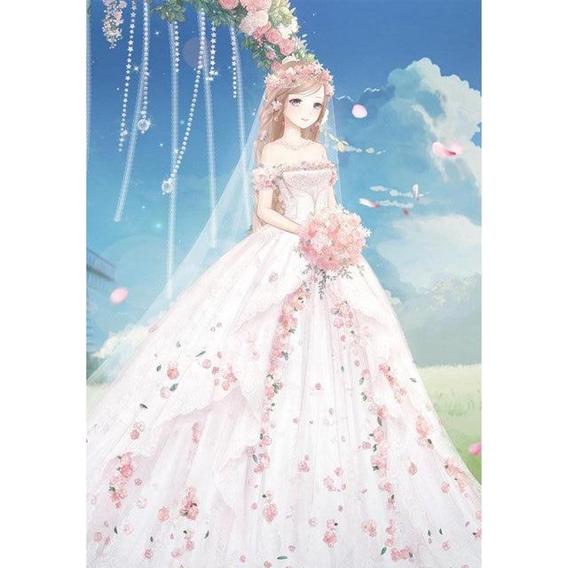 Full Drill Diamond Painting Beautiful Bride Wedding Dress Cartoon - Anime Wedding Dress