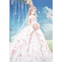 Pełna Wiertła Diamentowe Malarstwo Piękna Panna Młoda Suknia Ślubna Cartoon Anime Character Diament Mozaika Cross Stitch Haft DP296