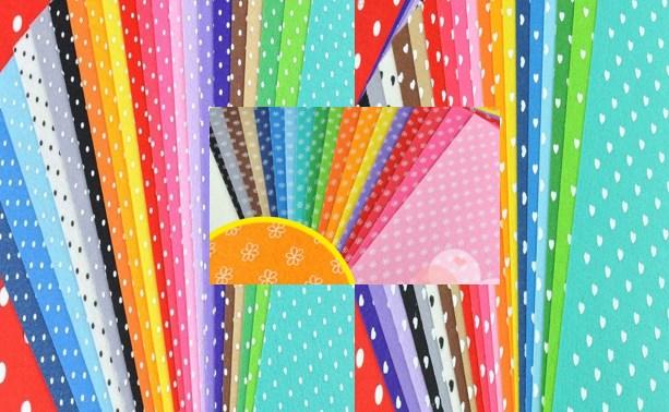98pcs printed felt fabric 3 patterns polka dot heart 20 for Polka dot felt fabric