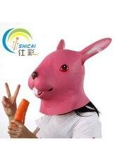 Party supply animal rabbit mask full head emulsion pink rabbit animal masks realistic mask free shipping