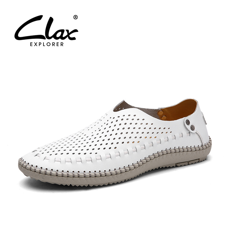 CLAX Men Summer Shoes Leather 2018 Fashion Casual Shoe Male Breathable Handmade Sewing Loafers Soft Lightweight Walking Footwear clax men s casual shoes fashion leisure shoe 2018 spring summer men leather footwear breathable handmade loafers sewing sole