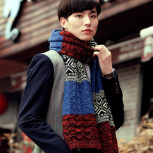 Men winter New Male Winter Multicolor Patchwork Vintage Men Knitted Scarf Winter Mens Scarves