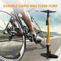High Pressure Bike Floor Pump 160PSI Bicycle Floor Pump Inflator with Pressure Gauge For Presta and Schrader Valve