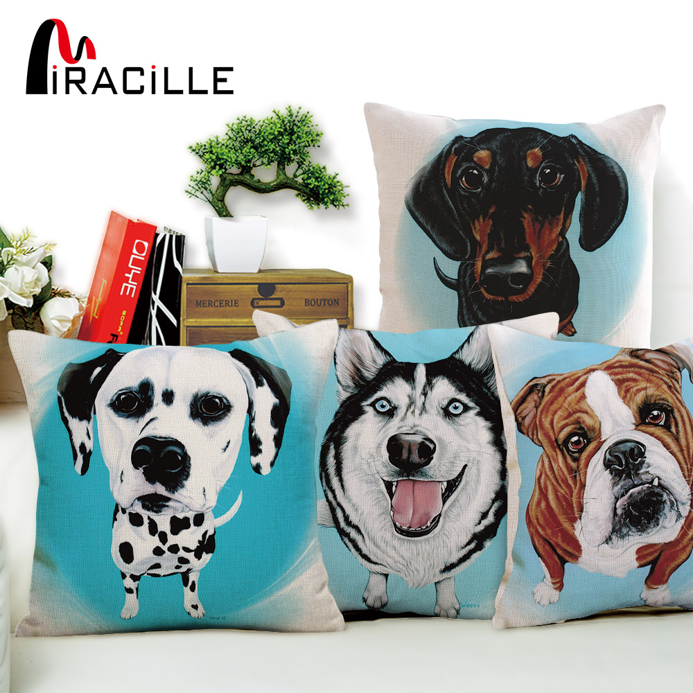 Miracille Square 18 Creative Colorful Cute Dog Dalmatians Pattern Linen Cushions Cover Home Almofada Decor Throw Pillow Covers