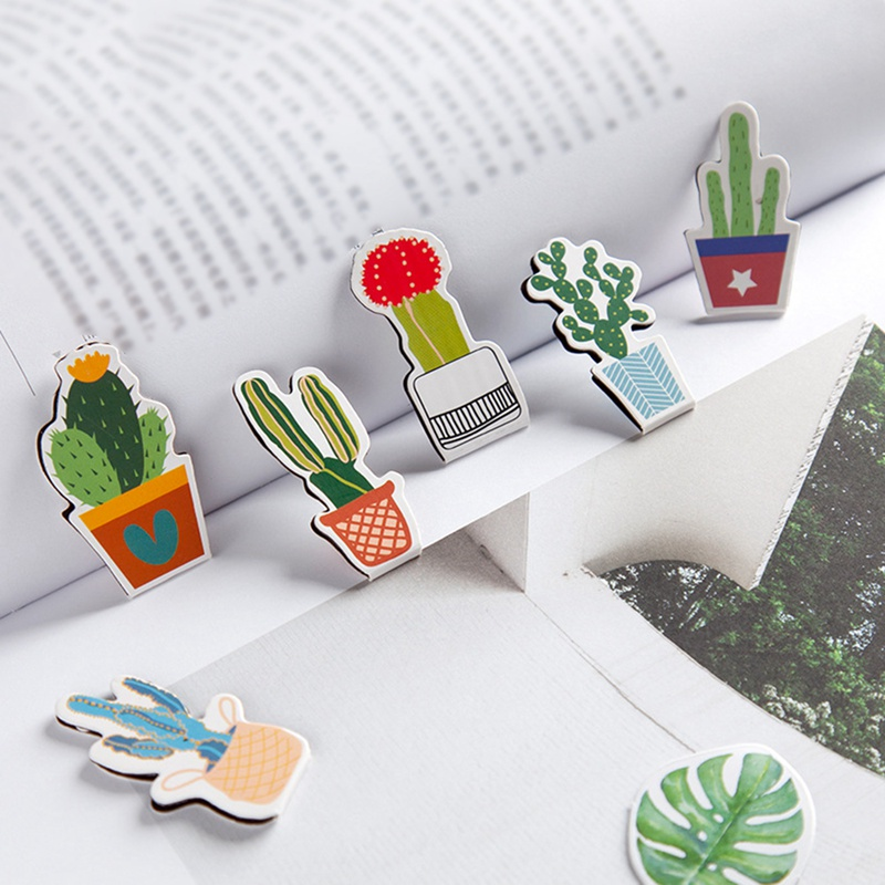 2Pcs/Set Fresh Cute Cactus Magnetic Bookmarks Books Marker Of Page Student Stationery School Office Supply Gifts