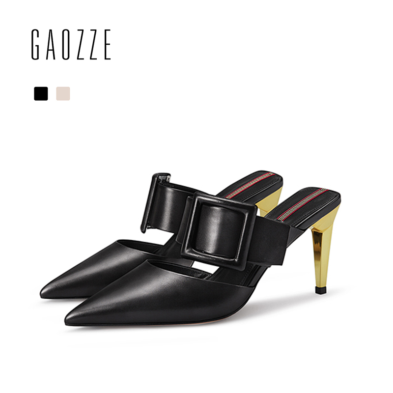 GAOZZE Pointed Toe Genuine Leather Woman Shoes Pumps Sexy Stiletto Mules High Heels Slingback Buckle Strap Women Shoes Slippers women office shoes solid color fashion pointed toe stiletto high heels elastic band ankle strap slingback sandals pumps leather