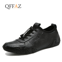 QFFAZ Brand Genuine Leather Men Casual Shoes Cool Size 38 44 lace up Loafers Men Sewing Breathable Driving Shoes