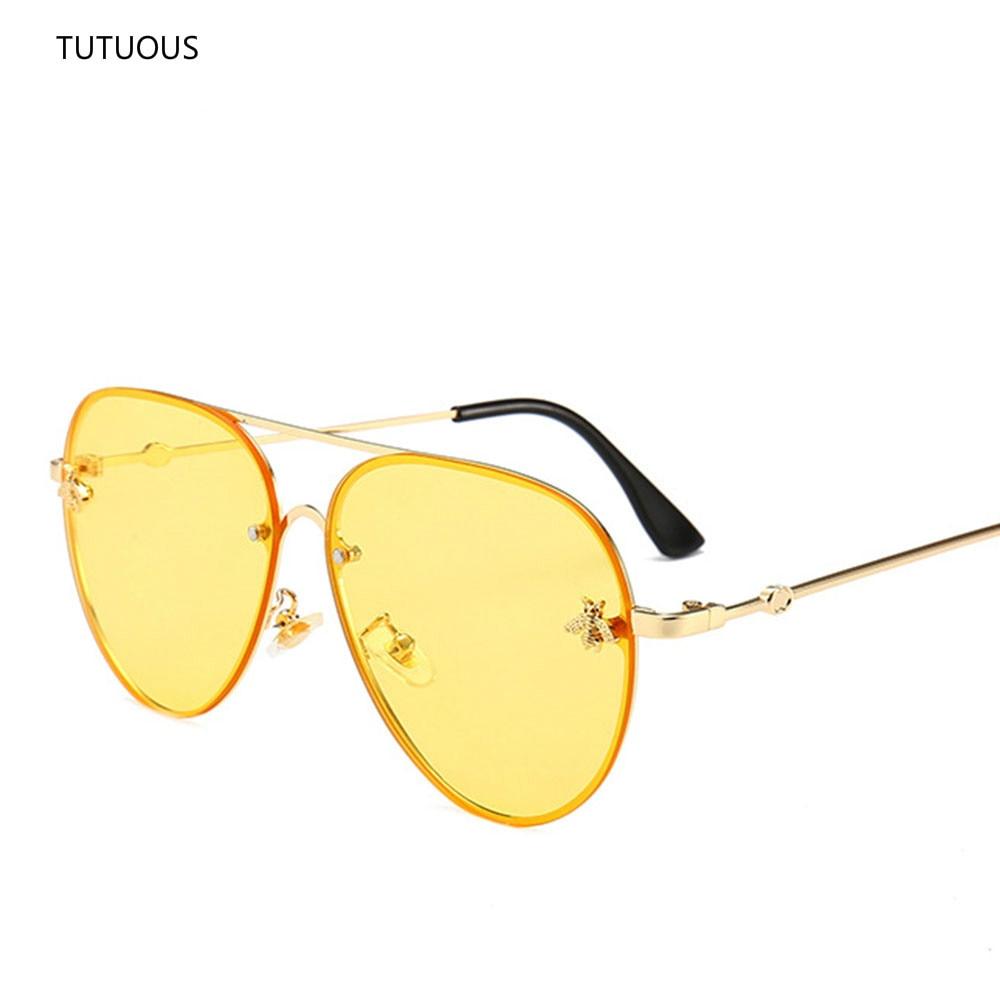 e31d42c364 46023 Luxury Pilot Little Bee Sunglasses Men Women Metal Frame Vintage  CCSPACE Brand Glasses Designer Fashion ...