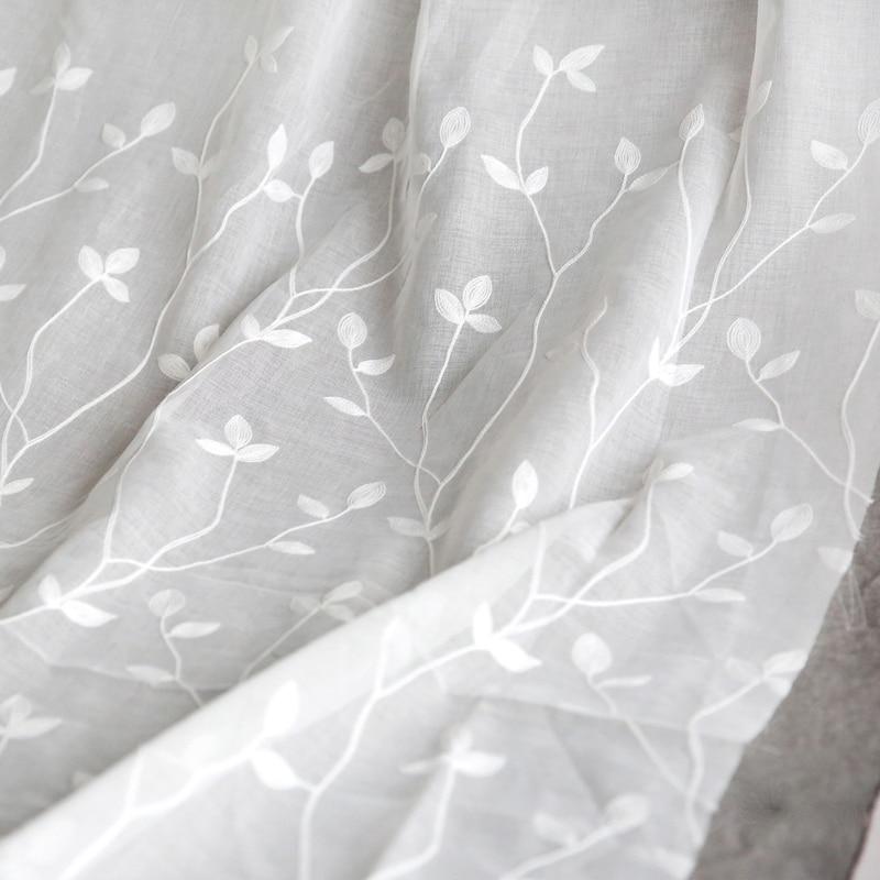 Pure white bay window curtain gauze material cloth