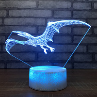 Home Decoration 7 Colors Dinosaur Modelling 3D Led Touch Lighting Fixture Vision Pterosaurs Table Lamp Bedside Sleep Night Light