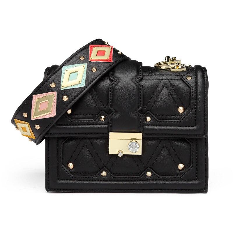 c2f047547b40 Роскошная модная сумка-мессенджер с заклепками, разноцветная расшитая  блестками сумка через плечо с широкими