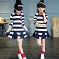 Preciosas Muchachas de Los Cabritos Mini Navy Stripe Viento Boca Roja Ocasional Sexy de Invierno Vestido de Lana Niñas Ropa de Baile vestido de Bola de Princesa vestido