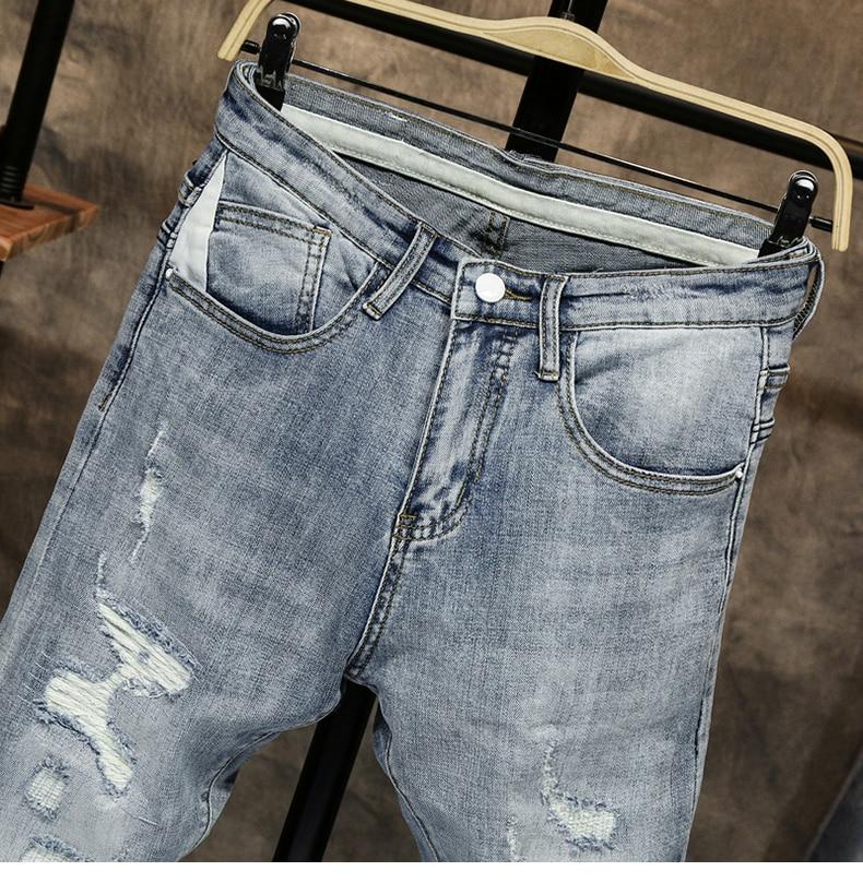 Ripped Jeans for Men Skinny Light Blue Gray Stretch Slim Leg Streetwear Distressed Moto Biker Jeans Male Denim Pants Hip Hop 13