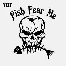 YJZT – autocollant de voiture en vinyle noir/argent, 14.1CM x 16CM, squelette de crâne de pêche, C24-0646