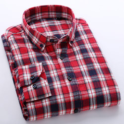 Spring autumn 2016 mens long sleeve plaid checked brushed flannel shirt cotton classic fit unelastic soft.jpg 250x250