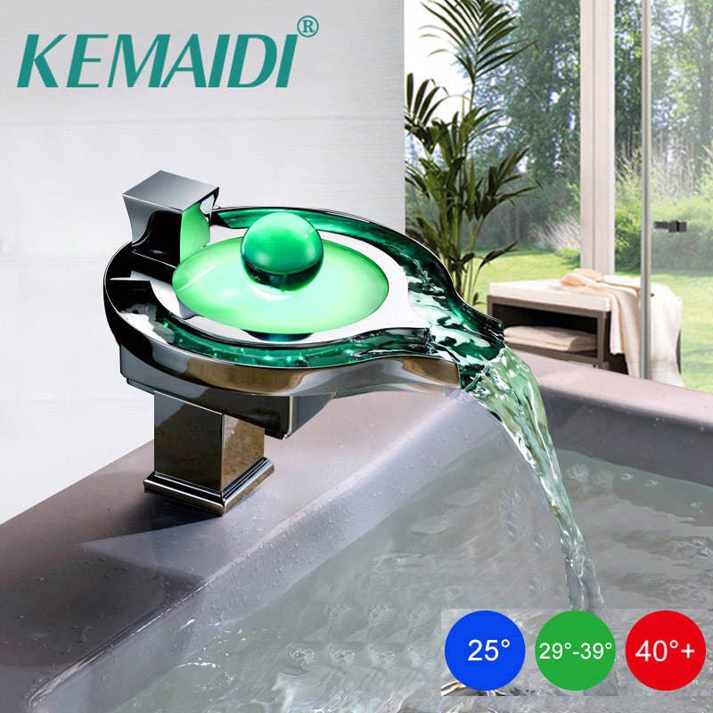 KEMAIDI Luxury Polished Chrome LED Waterfall Spout Bathroom Basin Faucet Contemporary Square Sink Mixer Tap Deck Mounted