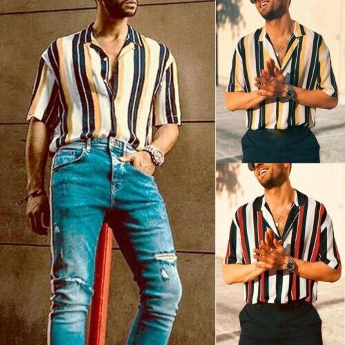 Men's Fashion Short Sleeve Regular Fit Button Down Shirt Casual Vertical Striped Shirt Mens Hip Hop Casual Short Sleeve Tops