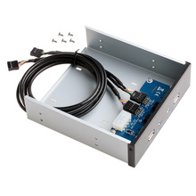 "5.25"" 9/10 Pin to 2 Port USB 2.0 HUB HD Audio PC Floppy Drive Bay Front Panel C26(China)"