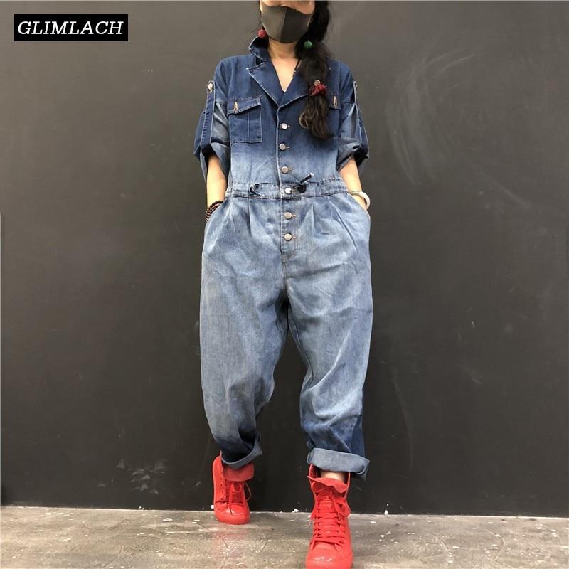 2019 New Denim Jumpsuits Women Loose Hip Hop One Piece Jeans Jumpsuits Ladies Vintage Wide Leg Denim Overalls Streetwear Clothes