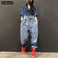 2019 New Denim Jumpsuits Women Loose Hip Hop One Piece Jeans Jumpsuits Ladies Vintage Wide Leg Denim Overalls Streetwear Clothes