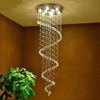 k9 crystal lamp stair lamp Stair light pendant lights spiral crystal pendant lamp living room lights stair lighting fixtures ZCL