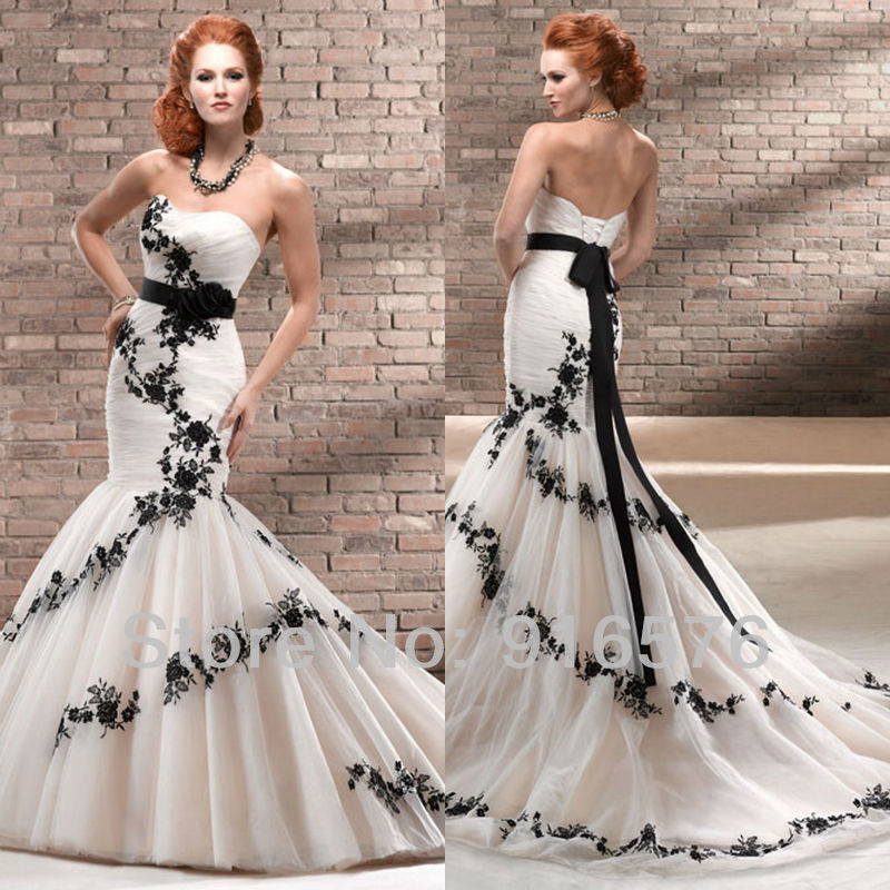 enchanting black and white mermaid wedding dresses sweetheart low back lace sash corset chapel train flower dress bridal gown