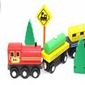 Kid's Soft Wooden Train Blocks Set Educational Montessori children intelligent creative interactive High Quanlity Gift toys