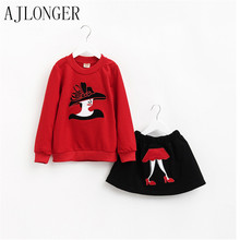 2015 Girl Top+tutu Skirt 2Pcs Set Children Clothing Sets Girls Spring Clothing Kids Clothes Suits