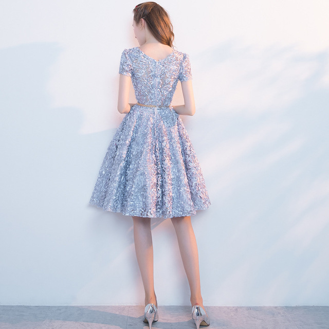 LAMYA Candy Color Appliques Prom Dresses Short Sleeve Evening Party Dress Knee Length A Line Formal Gown Zipper Robe De Soiree 2
