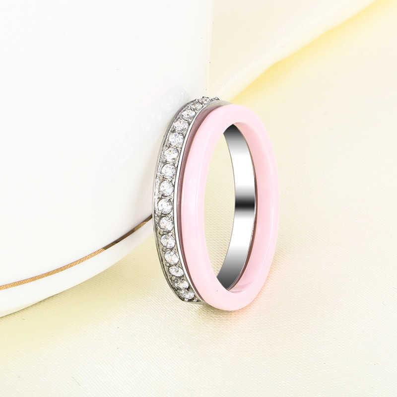 2 ชิ้น/เซ็ตแฟชั่นน่ารักสีชมพูแหวนเซรามิค Plus ครึ่ง Rhinestone แหวนผู้หญิงผู้ชายคริสตัลแต่งงานหญิงวัยรุ่นของขวัญ