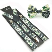 "2017 New Women Men Unisex ""U.S. Dollar Money"" Suspender and Bowtie Set Y-Shape Piano keys Sets Office Casual Bowtie Set hot sale"