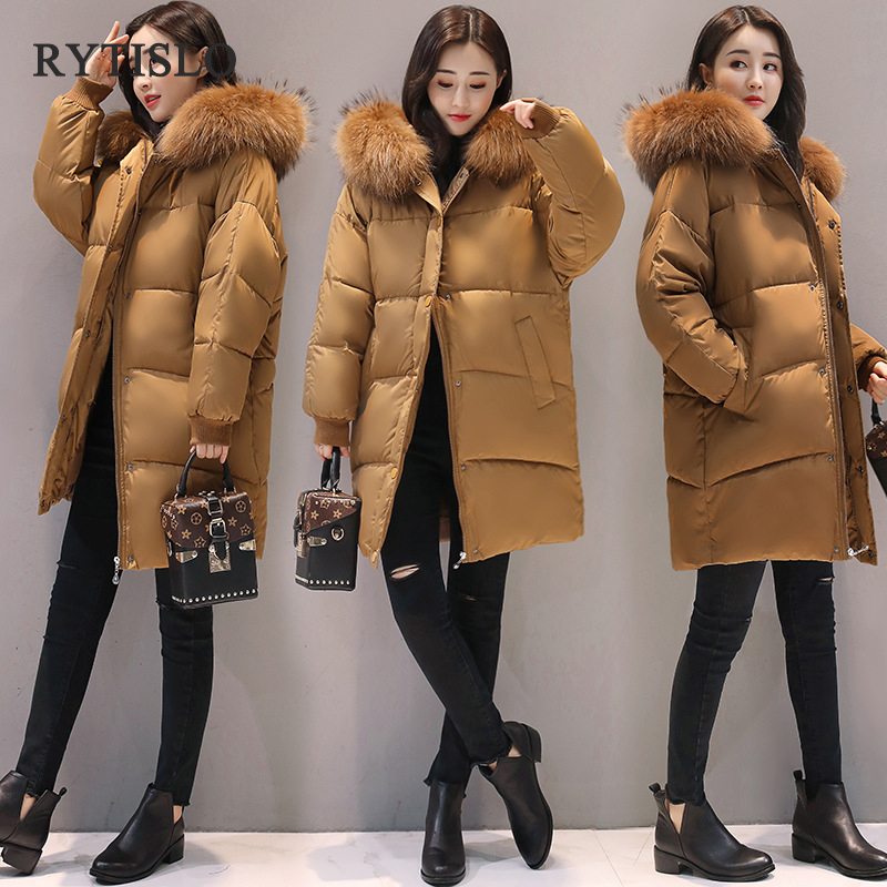 RYTISLO New Winter Long Women Parka Coat Jacket Faux Fur Collar Hooded Female Casual Thick Warm Solid Coat Cotton Padded x long cotton padded jacket female faux fur hooded thick parka warm winter jacket women solid color wadded coat outerwear tt763