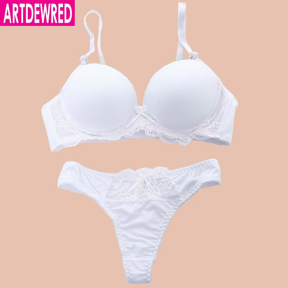 ARTDEWRED Sexy Fashion Bikini   Bra     Set   Seamless Push Up Plunge Lady Lingerie Women Solid Underwear   Bras   Thong   sets   34-42 ABC Cup