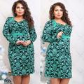2017 hot new dress plus 6xl maxi dress vestidos profunda v cuello estampado de flores de gran tamaño de la manga completa hasta la rodilla vaina túnica dress