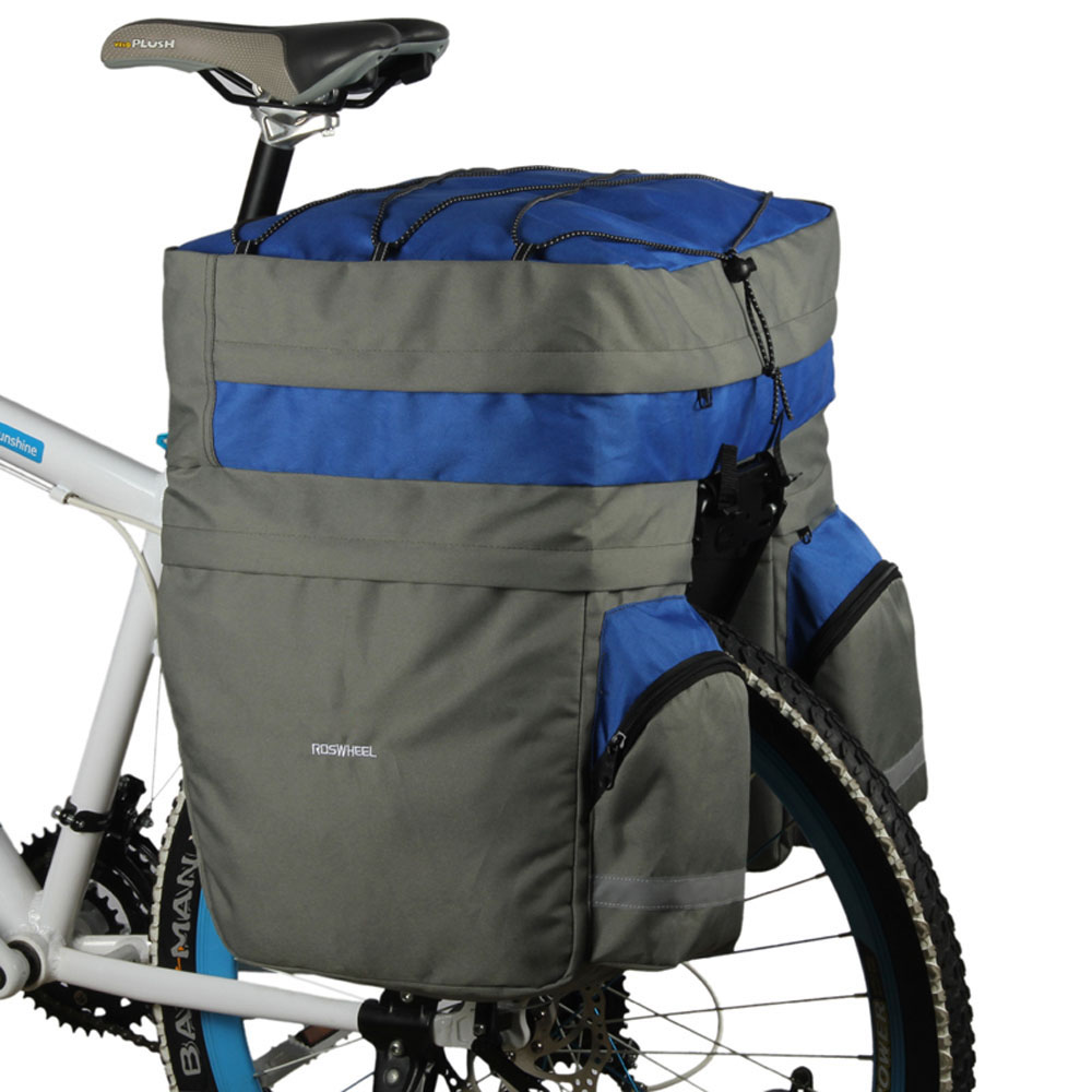 Roswheel 60L Bike Double Bicycle Rear Seat Trunk Bag Handbag Pannier Rain Cover