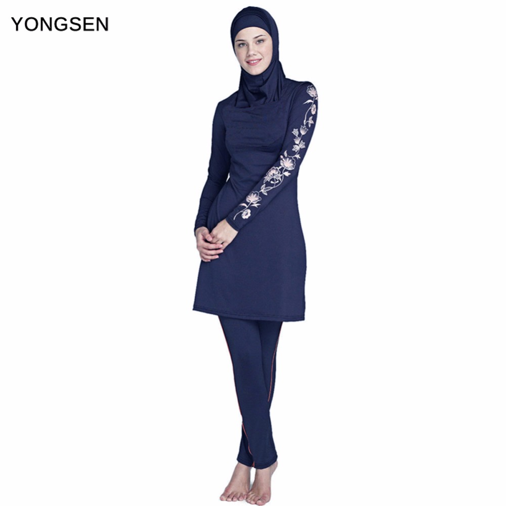 все цены на YONGSEN 2018 New Burkinis Muslim Swimsuit Modest Clothing Islamic 3 Pieces Separated Women Wear Long muslimah Swimwear Hijab