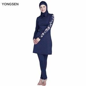 Image 1 - YONGSEN 2020 New Burkinis Muslim Swimsuit Modest Clothing Islamic 3 Pieces Separated Women Wear Long muslimah Swimwear Hijab