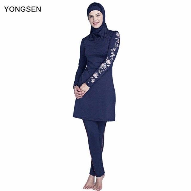 YONGSEN 2020 New Burkinis Muslim Swimsuit Modest Clothing Islamic 3 Pieces Separated Women Wear Long muslimah Swimwear Hijab