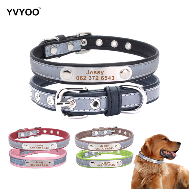 yvyoo free engraved personalized name pet cat dog leather collar