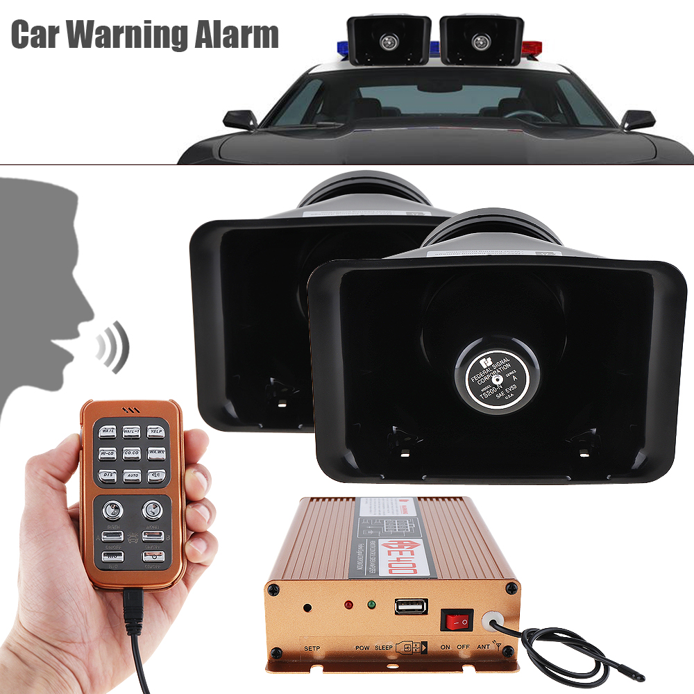 400W 8Sound Loud Car Warning Alarm Police Fire Siren Horn PA Speaker Remote