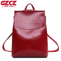 GZCZ Brand High Quality Leather Women Backpack For Girls Vintage Backpack For Teenage Girls Casual Bags