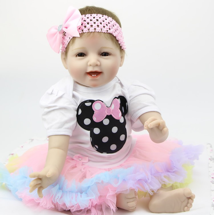 22 Inch Silicone Smiling Reborn Babies Doll Handmade Newborn Girl Doll Looking Real Baby Reborns Kids Birthday Xmas Gift ash ash 29099 29099