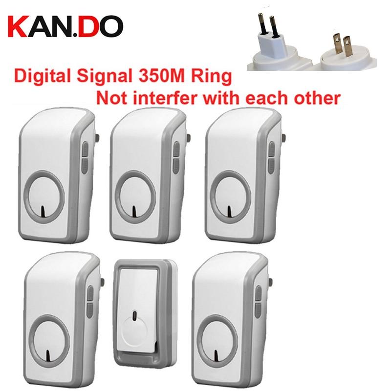 Euro/US PLUG BELL W/ 1 Emitter+5 Receivers Wireless Doorbell Waterproof 380 Meter Door Chime Door Ring Digital Signal Door Bell